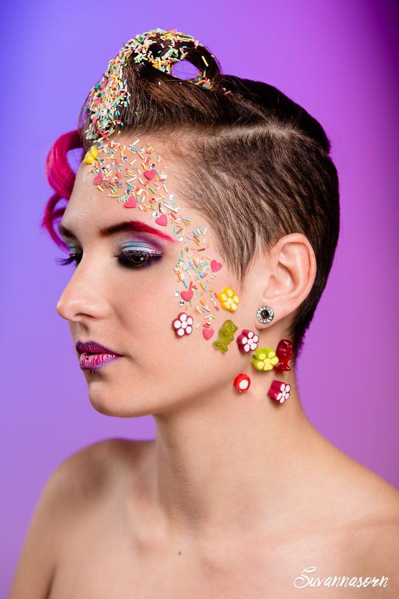 suvannasorn maquillage beauté femme genève coiffeuse maquilleuse artiste photographe bonbon gourmandise rose violet bleu